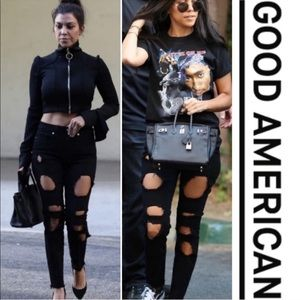 Good American NWT Good Legs Ripped Skinny Jeans